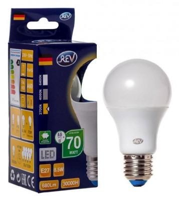Лампа светодиодная REV 32379 2 LED A60 Е27 8,5W 700Лм, 2700K, теплый светСтандартный вид<br>В интернет-магазине «Светодом» можно купить не только люстры и светильники, но и лампочки. В нашем каталоге представлены светодиодные, галогенные, энергосберегающие модели и лампы накаливания. В ассортименте имеются изделия разной мощности, поэтому у нас Вы сможете приобрести все необходимое для освещения.   Лампа REV 32379 2 LED A60 Е27 8,5W 700Лм, 2700K, теплый свет обеспечит отличное качество освещения. При покупке ознакомьтесь с параметрами в разделе «Характеристики», чтобы не ошибиться в выборе. Там же указано, для каких осветительных приборов Вы можете использовать лампу REV 32379 2 LED A60 Е27 8,5W 700Лм, 2700K, теплый светREV 32379 2 LED A60 Е27 8,5W 700Лм, 2700K, теплый свет.   Для оформления покупки воспользуйтесь «Корзиной». При наличии вопросов Вы можете позвонить нашим менеджерам по одному из контактных номеров. Мы доставляем заказы в Москву, Екатеринбург и другие города России.<br><br>Цветовая t, К: WW - теплый белый 2700-3000 К<br>Тип лампы: LED - светодиодная<br>Тип цоколя: E27<br>MAX мощность ламп, Вт: 8<br>Диаметр, мм мм: 60<br>Высота, мм: 110