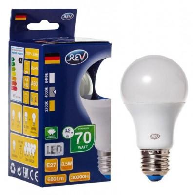 Лампа светодиодная REV 32380 8 LED A60 Е27 8,5W 700Лм, 4000K, холодный светСтандартный вид<br>В интернет-магазине «Светодом» можно купить не только люстры и светильники, но и лампочки. В нашем каталоге представлены светодиодные, галогенные, энергосберегающие модели и лампы накаливания. В ассортименте имеются изделия разной мощности, поэтому у нас Вы сможете приобрести все необходимое для освещения.   Лампа REV 32380 8 LED A60 Е27 8,5W 700Лм, 4000K, холодный свет обеспечит отличное качество освещения. При покупке ознакомьтесь с параметрами в разделе «Характеристики», чтобы не ошибиться в выборе. Там же указано, для каких осветительных приборов Вы можете использовать лампу REV 32380 8 LED A60 Е27 8,5W 700Лм, 4000K, холодный светREV 32380 8 LED A60 Е27 8,5W 700Лм, 4000K, холодный свет.   Для оформления покупки воспользуйтесь «Корзиной». При наличии вопросов Вы можете позвонить нашим менеджерам по одному из контактных номеров. Мы доставляем заказы в Москву, Екатеринбург и другие города России.<br><br>Цветовая t, К: CW - холодный белый 4000 К<br>Тип лампы: LED - светодиодная<br>Тип цоколя: E27<br>MAX мощность ламп, Вт: 8<br>Диаметр, мм мм: 60<br>Высота, мм: 110