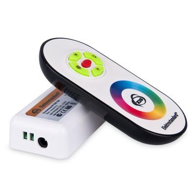 RF RGB 18A Электростандарт Сенсорный контроллер с ПДУ для светодиодной лентыКонтроллеры<br>Технические характеристики контроллера Макс. мощность: при питании 12 В – 216 Вт  при питании 24 В – 432 Вт Кол-во каналов: 3 Макс. ток: 6 A на канал Степень защиты: IP40 Размер контроллера: 85 х 45 х 24 мм  Технические характеристики ПДУ Передача сигнала: радиоканал Радиус действия ПДУ: 20 м (прямая видимость с контроллером не требуется) Элементы питания ПДУ: 3хААA Размер ПДУ: 115 х 56 х 19 мм  Режимы работы контроллера Кнопка 4 последовательно переключает режимы работы контроллера:  1Плавный перелив 7 цветов 2Переключение 3 цветов 3Переключение 7 цветов 4Плавный перелив 3 цветов 5Плавный перелив 7 цветов 6Мерцающий красный свет 7Мерцающий синий свет 8Мерцающий пурпурный свет 9Мерцающий зеленый свет 10Мерцающий салатовый свет 11Мерцающий голубой свет 12Мерцающий холодный белый свет 13Мерцающий синий/красный свет 14Мерцающий зеленый /синий свет 15Мерцающий красный/зеленый свет Кнопка 2 последовательно переключает режимы работы контроллера: 1 Белый свет 2 Заданный оттенок света Назначение сенсорного кольца: задает оттенок свечения ленты Кнопка 5 включает и выключает контроллер.  Синхронизация пульта и контроллера После подключения питания к контроллеру в течении первых 3 секунд нажмите и удерживайте верхнюю кнопку «*» на пульте дистанционного управления. Когда светодиоды на ленте мигнут 3 раза, отпустите кнопку. Синхронизация завершена.  Для разрыва связи между пультом и контроллером нажмите и удерживайте кнопку «*» на пульте дистанционного управления в течении 3 секунд после подачи питания к контроллеру. После срабатывания импульсного режима (9-10 миганий светодиодов на ленте) связь пульта с контроллером будет разорвана.   Синхронизация пульта с контроллером<br><br>Ширина, мм: 45<br>Длина, мм: 85<br>Высота, мм: 23<br>MAX мощность ламп, Вт: DC 12B - 216Вт/DC 24B - 432Вт