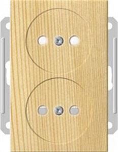 Розетка Wessen 59 с/у без рамки двухместная (250В, 16А, с ЗП) сосна (RS16-254-7-86)
