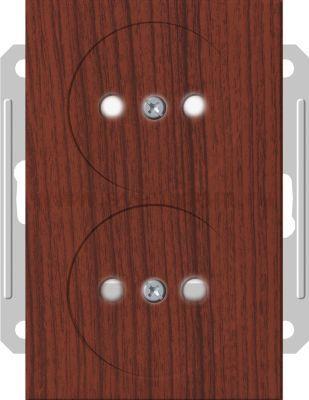 Розетка Wessen 59 с/у двухместная (250В, 16А, с ЗП) мореный дуб (RS16-254-98)Мореный дуб<br><br><br>Оттенок (цвет): под дерево