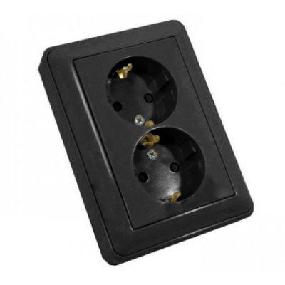 Розетка Wessen 59 с/у С ЗК двухместная (250В, 16А, с ЗП) черный бархат (RS16-255-68)Черный бархат<br><br><br>Тип товара: розетка 220V<br>Оттенок (цвет): черный