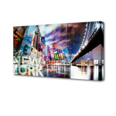 Постер на стену Нью-Йорк S-4017H ToppostersПостеры на стену<br>Габариты: 50х100х2 см. Состав: Холст, подрамник из МДФ. Упаковка: Защитные уголки и термоусадочная пленка, размер 51х101х2,5 см.<br>