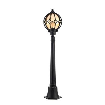 Уличный светильник Maytoni S110-10-01-R Champs ElyseesОдиночные столбы<br><br><br>Тип лампы: Накаливания / энергосбережения / светодиодная<br>Тип цоколя: E27<br>Количество ламп: 1<br>Ширина, мм: 241<br>MAX мощность ламп, Вт: 60<br>Длина, мм: 225<br>Высота, мм: 1080<br>Цвет арматуры: Янтарный черный