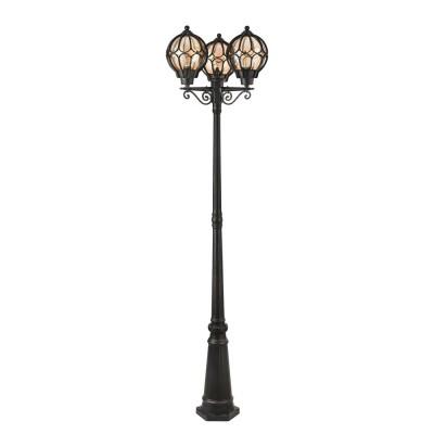 Уличный светильник Maytoni S110-22-03-R Champs ElyseesБольшие фонари<br><br><br>Тип лампы: Накаливания / энергосбережения / светодиодная<br>Тип цоколя: E27<br>Количество ламп: 3<br>Ширина, мм: 590<br>MAX мощность ламп, Вт: 60<br>Глубина, мм: 228<br>Высота, мм: 2188<br>Цвет арматуры: Янтарный черный