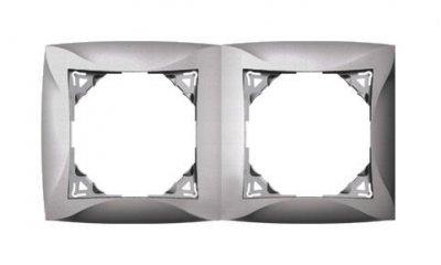 Lexel Дуэт серебро Рамка 2-х местная (SE WDE000302)Серебро<br><br><br>Оттенок (цвет): серебристый