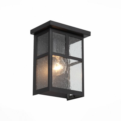 Уличный настенный светильник St luce SL079.401.01Настенные<br>Уличные светильники коллекции Glazgo выглядят просто и стильно. Они немного напоминают уютные окошечки загородного дома. Металлическое основание   окрашено в  цвет темного кофе. Плафон выполнен из кракелированного стекла, что придает ему загадочности,а рассеиваемый свет делает мягким и комфортным. Простые геометрические формы, сдержанный классический цвет делают светильник образцом элегантного вкуса.  Модель имеет высокий уровень IP защиты от влаги и пыли.<br><br>Крепление: планка<br>Тип лампы: накаливания / энергосбережения / LED-светодиодная<br>Тип цоколя: E27<br>Цвет арматуры: венге<br>Количество ламп: 1<br>Ширина, мм: 170<br>Расстояние от стены, мм: 108<br>Высота, мм: 220<br>Поверхность арматуры: матовая<br>Оттенок (цвет): коричневый<br>MAX мощность ламп, Вт: 60