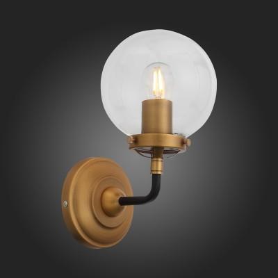 Светильник настенный бра St luce SL234.401.01 VarietaЛофт<br>Коллекция Varieta представлена яркими, динамичными и несколько футуристичными светильниками разных размеров и модификаций. Металлическое основание выполнено в сочетании двух цветовых вариаций: золотистого шампанского и чёрного. Закрытые плафоны-сферы из прозрачного стекла выглядят подчёркнуто минималистично и стильно. Благодаря многообразию моделей этой коллекции можно создать по- настоящему необычные световые композиции.<br><br>Крепление: планка<br>Тип лампы: накаливания / энергосбережения / LED-светодиодная<br>Тип цоколя: E27<br>Цвет арматуры: золотой<br>Количество ламп: 1<br>Ширина, мм: 140<br>Расстояние от стены, мм: 180<br>Высота, мм: 270<br>Поверхность арматуры: матовая<br>MAX мощность ламп, Вт: 60