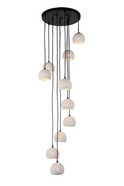 Люстра подвесная St luce SL235.453.10Подвесные<br>Если Вы настроены купить светильник модели SL23545310, то обратите внимание: Стильные романтические люстры коллекции Facilita украсят интерьер холла, гостиной, могут стать вторым светом в интерьере, выполненном в стиле кантри. Сочетание металла, окрашенного в чёрный цвет и изящных ажурных плафонов из белого стекла делает модели лёгкими и нарядными.<br><br>Установка на натяжной потолок: Да<br>S освещ. до, м2: 25<br>Крепление: Планка<br>Тип лампы: галогенная / LED-светодиодная<br>Тип цоколя: GU10<br>Количество ламп: 10<br>MAX мощность ламп, Вт: 50<br>Диаметр, мм мм: 450<br>Высота, мм: 160<br>Поверхность арматуры: матовая<br>Цвет арматуры: Черный