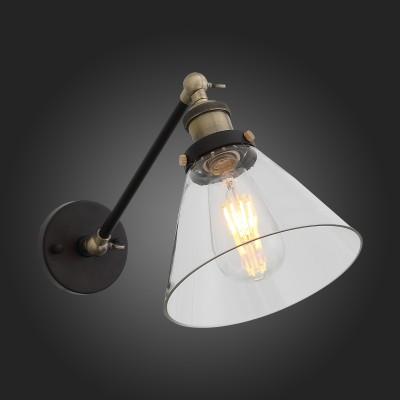Светильник настенный бра St luce SL237.411.01 EvolutoЛофт<br>В дизайне люстры Evoluto смешалась индустриальная простота и винтажная декоративность. Эта современная модель может быть как потолочным, так и настенным светильником  в урбанистическом интерьере. В основании люстры сочетается металл черного и бронзового цвета. Плафон выполнен из прозрачного стекла. Возможность поворота плафона и движения в основании позволяет создать зональное освещение кабинета, прихожей, столика в кафе.<br><br>Крепление: планка<br>Тип лампы: накаливания / энергосбережения / LED-светодиодная<br>Тип цоколя: E27<br>Количество ламп: 1<br>Ширина, мм: 180<br>MAX мощность ламп, Вт: 60<br>Расстояние от стены, мм: 390<br>Высота, мм: 220<br>Поверхность арматуры: матовая<br>Цвет арматуры: золотой