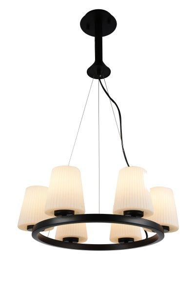 Люстра подвесная St luce SL256.403.06Подвесные<br><br><br>Установка на натяжной потолок: Да<br>S освещ. до, м2: 18<br>Крепление: Планка<br>Тип товара: Люстра подвесная<br>Тип лампы: накаливания / энергосбережения / LED-светодиодная<br>Тип цоколя: E27<br>Количество ламп: 6<br>MAX мощность ламп, Вт: 60<br>Диаметр, мм мм: 420<br>Высота, мм: 500<br>Поверхность арматуры: матовая<br>Цвет арматуры: Черный