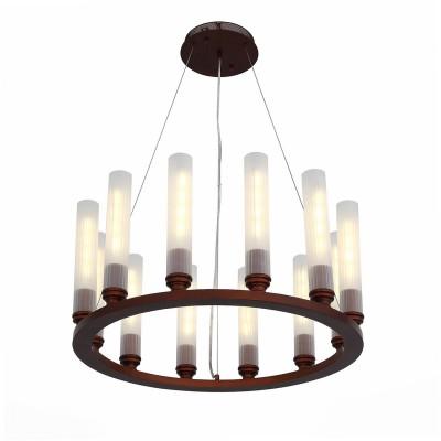 Люстра подвесная SL262.703.12 St luce UNICAсовременные подвесные люстры модерн<br><br><br>S освещ. до, м2: 24<br>Крепление: Планка<br>Цветовая t, К: 3000K<br>Тип лампы: Накаливания / энергосбережения / светодиодная<br>Тип цоколя: E27<br>Цвет арматуры: Коричневый<br>Количество ламп: 12<br>Диаметр, мм мм: 800<br>Высота полная, мм: 1200<br>Высота, мм: 340<br>Поверхность арматуры: Матовая<br>Оттенок (цвет): коричневый<br>MAX мощность ламп, Вт: 4<br>Общая мощность, Вт: 48
