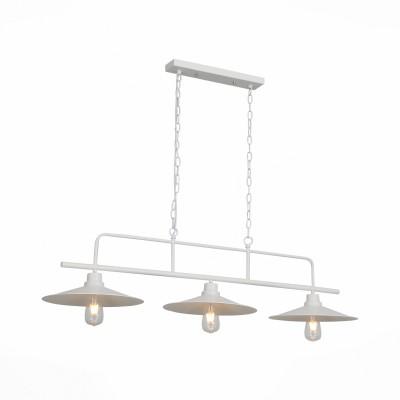 Светильник подвесной St luce SL265.503.03Тройные<br>Стильные светильники коллекции Sсarno– интересная и функциональная идея для пространства, оформленного в стиле техно или лофт. Металлическое основание и плафоны модели выполнены из  металла и окрашены в золотисто-кофейный или белый цвет. Высоту светильника можно регулировать за счет цепи.  Данная особенность позволяет использовать люстру в зонах, предназначенных для занятий с длительной концентрацией внимания. Это может быть рабочий сегмент кухни, гаража, студии, творческой мастерской. Комфортной работе под светильником способствует и лампа накаливания, мощности которой вполне достаточно, чтобы осветить пространство.<br><br>Тип лампы: накаливания / энергосбережения / LED-светодиодная<br>Тип цоколя: E27<br>Цвет арматуры: белый<br>Количество ламп: 3<br>Ширина, мм: 335<br>Длина, мм: 850<br>Высота, мм: 1200<br>MAX мощность ламп, Вт: 60
