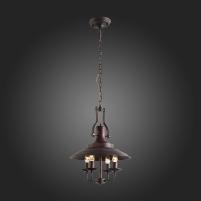 Люстра подвесная St luce SL269.403.04 RaritaПодвесные<br>Модели коллекции Rarita станут выразительным элементом концепции интерьера, оформленного в стиле лофт, кантри или эклектика. Облик сдержанно-строгих светильников свободен от избытка декора. Металлическое основание окрашено в темно-коричневый свет.<br><br>S освещ. до, м2: 8<br>Крепление: планка<br>Тип лампы: накаливания / энергосбережения / LED-светодиодная<br>Тип цоколя: E14<br>Цвет арматуры: коричневый<br>Количество ламп: 4<br>Диаметр, мм мм: 400<br>Высота, мм: 520 - 1650<br>Поверхность арматуры: матовая<br>MAX мощность ламп, Вт: 40