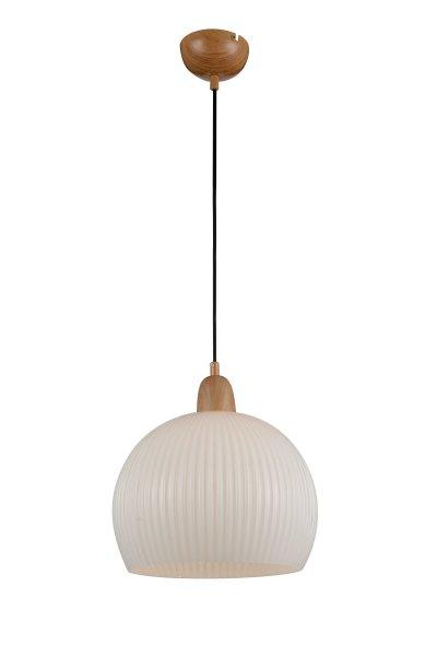 Светильник подвесной St luce SL287.703.01Одиночные<br>Если Вы настроены купить светильник модели SL28770301, то обратите внимание: Люстры коллекции Soavita – прекрасный вариант простой классической люстры . Закреплённые на длинном весе с металлическим основанием, эти светильники станут украшением коридора, гостиной или столовой. Они также могут быть использованы как центральный источник света или для выделения какой-то определённой зоны. Плафон светильника Soavita выполнен из глянцевого белого стекла с вертикальным рельефом. Свет, исходящий от лампы накаливания, отражается и бликует на поверхности абажура, создавая приятную тёплую атмосферу в помещении.<br><br>S освещ. до, м2: 3<br>Крепление: на планку<br>Тип лампы: накаливания / энергосбережения / LED-светодиодная<br>Тип цоколя: E27<br>Количество ламп: 1<br>MAX мощность ламп, Вт: 60<br>Диаметр, мм мм: 350<br>Высота, мм: 300<br>Поверхность арматуры: матовая<br>Цвет арматуры: деревянный светлый
