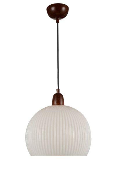 Светильник подвесной St luce SL287.803.01Одиночные<br>Если Вы настроены купить светильник модели SL28780301, то обратите внимание: Люстры коллекции Soavita – прекрасный вариант простой классической люстры . Закреплённые на длинном весе с металлическим основанием, эти светильники станут украшением коридора, гостиной или столовой. Они также могут быть использованы как центральный источник света или для выделения какой-то определённой зоны. Плафон светильника Soavita выполнен из глянцевого белого стекла с вертикальным рельефом. Свет, исходящий от лампы накаливания, отражается и бликует на поверхности абажура, создавая приятную тёплую атмосферу в помещении.<br><br>S освещ. до, м2: 3<br>Крепление: на планку<br>Тип лампы: накаливания / энергосбережения / LED-светодиодная<br>Тип цоколя: E27<br>Количество ламп: 1<br>MAX мощность ламп, Вт: 60<br>Диаметр, мм мм: 350<br>Высота, мм: 300<br>Поверхность арматуры: матовая<br>Цвет арматуры: деревянный темный
