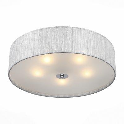 Светильник St Luce SL357.102.05Потолочные<br>Если Вы настроены купить светильник модели SL35710205, то обратите внимание: Светильники серии Rondella отличаются простой элегантностью и функциональностью форм и качество материала успешно сочетаются в этих изделиях. Абажуры люстр выполнены из органзы в трех вариантах цвета. Лампы снизу закрыты белым матовым стеклом, мягко рассеивающим свет.<br><br>Установка на натяжной потолок: Ограничено<br>S освещ. до, м2: 10<br>Тип лампы: Накаливания / энергосбережения / светодиодная<br>Тип цоколя: E27<br>Количество ламп: 5<br>Диаметр, мм мм: 500<br>Высота, мм: 160<br>MAX мощность ламп, Вт: 40