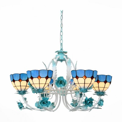 Люстра St luce SL372.953.06 LavoroПодвесные<br>Модели коллекции Lavoro очень красивы. Неспроста они начали свой путь в мире дизайна из ателье ювелирного дома Тиффани. И металлическое основание, окрашенное в белый и голубой цвета, и стеклянные плафоны из разноцветного витражного стекла изготовлены вручную. Светильники станут настоящим украшением зала, гостиной, спальни, оформленных в стиле Арт Нуво.<br><br>Установка на натяжной потолок: Да<br>S освещ. до, м2: 12<br>Крепление: планка<br>Тип лампы: накаливания / энергосбережения / LED-светодиодная<br>Тип цоколя: E14<br>Количество ламп: 6<br>MAX мощность ламп, Вт: 40<br>Диаметр, мм мм: 750<br>Высота, мм: 500 - 1000