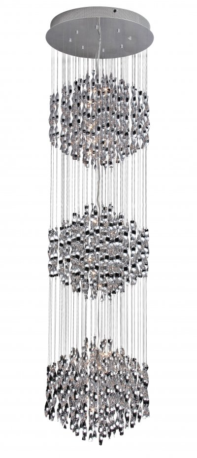 Светильник подвесной St luce SL450.103.54Каскадные<br>Касаемо коллекции модели St luce SL450.103.54 хотелось бы отметить основные моменты: Струящиеся стеклянные и металлические спирали люстр серии Arric сразу делают эти светильники ярким акцентом интерьера в стиле модерн или других современных стилях. Изделия представлены в трёх вариантах: белое и красное стекло, а также металлический хром. Арматура светильников выполнена из металла с покрытием хром.<br><br>Установка на натяжной потолок: Да<br>S освещ. до, м2: 72<br>Крепление: планка<br>Тип лампы: галогенная / LED-светодиодная<br>Тип цоколя: G4<br>Количество ламп: 54<br>Ширина, мм: 680<br>MAX мощность ламп, Вт: 20<br>Диаметр, мм мм: 680<br>Длина, мм: 680<br>Высота, мм: 2500<br>Поверхность арматуры: глянцевая<br>Оттенок (цвет): серебристый<br>Цвет арматуры: серебристый