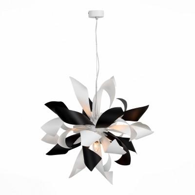 Люстра подвесная St luce SL453.453.06Подвесные<br>Невероятная красота и ультрасовременный дизайн светильников  коллекции Spiraglio никого не оставит равнодушным. Металлическое основание и оригинальные плафоны выполнены из металла и окрашены в белый, черный или цвет алюминия.  Необычное решение - форма, имитирующая лепестки цветка или языки пламени – превращает люстры в настоящии произведения современного дизайнерского искусства. Стильное решение, перед которым невозможно устоять, делает  светильники Spiraglio ярким акцентом современных интерьеров.<br><br>Тип лампы: Накаливания / энергосбережения / светодиодная<br>Тип цоколя: E14<br>Цвет арматуры: черный/белый<br>Количество ламп: 6<br>Диаметр, мм мм: 650<br>Высота, мм: 1200<br>MAX мощность ламп, Вт: 40