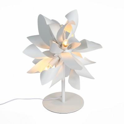 Настольная лампа St luce SL453.504.04Хай тек<br>Невероятная красота и ультрасовременный дизайн светильников  коллекции Spiraglio никого не оставит равнодушным. Металлическое основание и оригинальные плафоны выполнены из металла и окрашены в белый, черный или цвет алюминия.  Необычное решение - форма, имитирующая лепестки цветка или языки пламени – превращает люстры в настоящии произведения современного дизайнерского искусства. Стильное решение, перед которым невозможно устоять, делает  светильники Spiraglio ярким акцентом современных интерьеров.<br><br>Тип лампы: Накаливания / энергосбережения / светодиодная<br>Тип цоколя: E14<br>Цвет арматуры: белый<br>Количество ламп: 4<br>Диаметр, мм мм: 300<br>Высота, мм: 500<br>MAX мощность ламп, Вт: 40