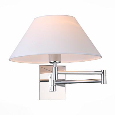 Светильник настенный St luce SL461.101.01Современные<br>Mossa - эта коллекция светильников , выполненная в стиле модерн. Вращающийся шарнирный механизм обеспечивает подвижность и надежность конструкции. Основание моделей Mossa изготовлено из металла с высококачественным покрытием цвета хром, абажур выполнен из материала ПВХ и льняной ткани белого цвета. Светильник может совершать движения в пространстве и менять направление освещения. Универсальный дизайн моделей Mossa позволяет им гармонично вписаться в любой современный интерьер.<br><br>Тип лампы: Накаливания / энергосбережения / светодиодная<br>Тип цоколя: E27<br>Цвет арматуры: серебристый<br>Количество ламп: 1<br>Ширина, мм: 330<br>Расстояние от стены, мм: 330 - 610<br>Высота, мм: 300<br>MAX мощность ламп, Вт: 60