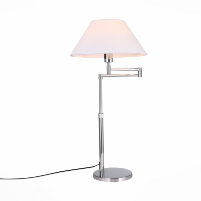 Настольная лампа St luce SL461.104.01Современные<br>Mossa - эта коллекция светильников , выполненная в стиле модерн. Вращающийся шарнирный механизм обеспечивает подвижность и надежность конструкции. Основание моделей Mossa изготовлено из металла с высококачественным покрытием цвета хром, абажур выполнен из материала ПВХ и льняной ткани белого цвета. Светильник может совершать движения в пространстве и менять направление освещения. Универсальный дизайн моделей Mossa позволяет им гармонично вписаться в любой современный интерьер.<br><br>Тип лампы: накаливания / энергосбережения / LED-светодиодная<br>Тип цоколя: E27<br>Цвет арматуры: серебристый<br>Количество ламп: 1<br>Ширина, мм: 380<br>Длина, мм: 380 - 650<br>Высота, мм: 630 - 820<br>MAX мощность ламп, Вт: 60
