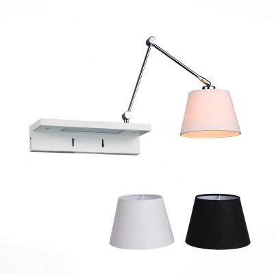 Светильник настенный St luce SL465.101.01современные бра модерн<br>Бра коллекции  Instrada будет прекрасно смотреться в коридоре, спальне, на кухне, прихожей или других помещениях. Эти стильные и многофункциональные модели созданы для современных динамичных людей, любящих комфорт и возможность превращений. Металлическое основание светильника выполнено в виде полочки, окрашенной в белый цвет и имеющей собственную подсветку, а также держателя плафона цвета хром. Благодаря шарнирным сочленениям держатель плафона может совершать разнообразные поворотные движения в пространстве, освещая помещение.Каждый светильник коллекции Instrada снабжен белым и черным тканевыми абажурами.<br><br>Тип лампы: Накаливания / энергосбережения / светодиодная<br>Тип цоколя: E27<br>Цвет арматуры: серебристый<br>Количество ламп: 1<br>Ширина, мм: 680<br>Расстояние от стены, мм: 360 - 90<br>Высота, мм: 180 - 730<br>MAX мощность ламп, Вт: 60