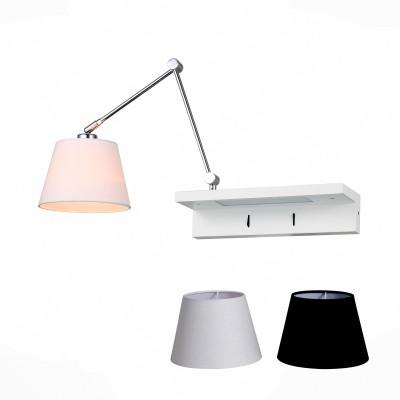 Светильник настенный St luce SL465.111.01современные бра модерн<br>Бра коллекции  Instrada будет прекрасно смотреться в коридоре, спальне, на кухне, прихожей или других помещениях. Эти стильные и многофункциональные модели созданы для современных динамичных людей, любящих комфорт и возможность превращений. Металлическое основание светильника выполнено в виде полочки, окрашенной в белый цвет и имеющей собственную подсветку, а также держателя плафона цвета хром. Благодаря шарнирным сочленениям держатель плафона может совершать разнообразные поворотные движения в пространстве, освещая помещение.Каждый светильник коллекции Instrada снабжен белым и черным тканевыми абажурами.<br><br>Тип лампы: Накаливания / энергосбережения / светодиодная<br>Тип цоколя: E27<br>Цвет арматуры: серебристый<br>Количество ламп: 1<br>Ширина, мм: 680<br>Расстояние от стены, мм: 360 - 90<br>Высота, мм: 180 - 730<br>MAX мощность ламп, Вт: 60