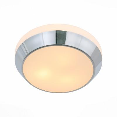 Светильник настенно-потолочный St luce SL469.502.03Круглые<br>Ванная комната - это помещение с повышенной температурой и влажностью, поэтому специалисты рекомендуют устанавливать там влагозащитные светильники и быть уверенными в том, что они прослужат долго и безопасно. Данная практика стала повсеместной у европейских пользователей. Светильники для ванных комнат коллекции  Pasticca имеют степень влагозащиты IP44. Плафон выполнен из белого матового стекла и окантовки из прозрачного стекла.<br><br>Тип лампы: Накаливания / энергосбережения / светодиодная<br>Тип цоколя: E27<br>Цвет арматуры: серебристый<br>Количество ламп: 3<br>Диаметр, мм мм: 390<br>Высота, мм: 95<br>MAX мощность ламп, Вт: 60