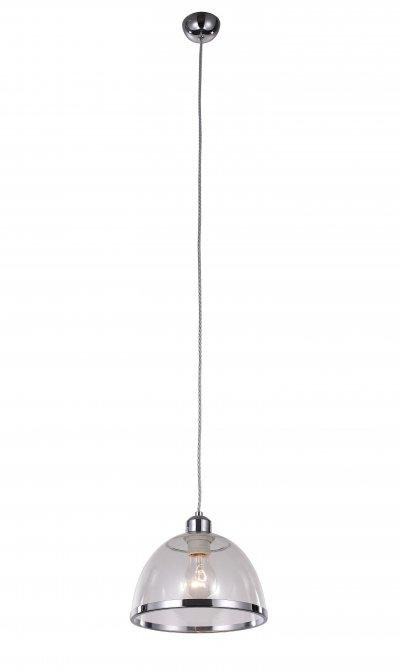 Светильник подвесной St luce SL481.103.01Одиночные<br>Если Вы настроены купить светильник модели SL48110301, то обратите внимание: Светильники коллекции Letizia безупречны в своем внешнем великолепии и техническом совершенстве. Дизайн предельно лаконичен. Основание и декоративный ободок на плафоне выполнены из металла, окрашенного в цвет хром, а плафон изготовлен из прозрачного стекла.Изюминка коллекции – сочетание простой классической формы и яркого дизайна.Цветовая гамма на любой вкус : прозрачное «стекло», жемчужный металлик, черный, красный, зеленый и фиолетовый. Модели коллекции Letizia гармонично подчеркивают уникальность и строгого классического интерьера, и современный дизайн.<br><br>S освещ. до, м2: 3<br>Крепление: на планку<br>Тип лампы: накаливания / энергосбережения / LED-светодиодная<br>Тип цоколя: E27<br>Количество ламп: 1<br>MAX мощность ламп, Вт: 60<br>Диаметр, мм мм: 230<br>Высота, мм: 1200<br>Поверхность арматуры: глянцевая<br>Цвет арматуры: серебристый хром