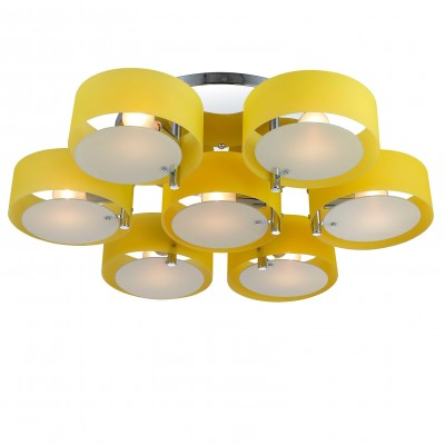 Желтая люстра St luce SL483.092.07Потолочные<br>Касаемо коллекции модели St luce SL483.092.07 хотелось бы отметить основные моменты: Смелый и нестандартный дизайн светильников коллекции Foresta позволяет им гармонично вписаться в современные интерьеры в стиле модерн, хай-тек, минимализм. Холодный блеск хромированного металла в люстрах этой коллекции успешно сочетается с белым матовым стеклом и цветными акриловыми деталями абажуров. Использование акрила в изготовлении светильников это современная тенденция в оформлении интерьера. Акрил и матовое стекло хорошо пропускают свет, и он мягко распространяется в пространстве.<br><br>Установка на натяжной потолок: Да<br>S освещ. до, м2: 21<br>Крепление: Планка<br>Тип лампы: накаливания / энергосбережения / LED-светодиодная<br>Тип цоколя: E27<br>Цвет арматуры: серебристый<br>Количество ламп: 7<br>Диаметр, мм мм: 900<br>Высота, мм: 200<br>Поверхность арматуры: глянцевая<br>MAX мощность ламп, Вт: 60