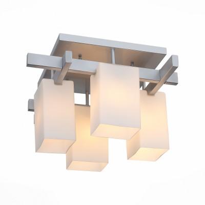 Люстра потолочная St luce SL541.102.04Потолочные<br>Люстры коллекции Caset украсят интерьер зала. кабинета,спальни, гостиной в стиле хай-тек или минимализм. Металлическое основание черного цвета или цвета «серебро» и белые матовые стеклянные плафоны четкой геометрической формы прекрасно сочетаются в этих люстрах.<br><br>Установка на натяжной потолок: Да<br>S освещ. до, м2: 8<br>Крепление: Планка<br>Тип лампы: накаливания / энергосбережения / LED-светодиодная<br>Тип цоколя: E27<br>Количество ламп: 4<br>Ширина, мм: 450<br>MAX мощность ламп, Вт: 40<br>Длина, мм: 450<br>Высота, мм: 310<br>Поверхность арматуры: матовая<br>Цвет арматуры: серебристый