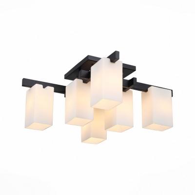 Люстра потолочная St luce SL541.402.06Потолочные<br><br><br>Установка на натяжной потолок: Да<br>S освещ. до, м2: 16<br>Крепление: Планка<br>Тип лампы: накаливания / энергосбережения / LED-светодиодная<br>Тип цоколя: E27<br>Цвет арматуры: черный<br>Количество ламп: 6<br>Ширина, мм: 770<br>Длина, мм: 770<br>Высота, мм: 310<br>Поверхность арматуры: матовая<br>MAX мощность ламп, Вт: 40
