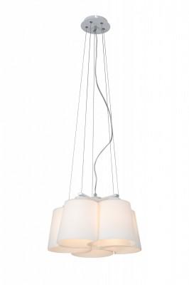 Светильник St luce SL543.503.05Подвесные<br>Касаемо коллекции модели St luce SL543.503.05 хотелось бы отметить основные моменты: Оригинальное исполнение плафонов люстр коллекции Chiello делает их экстравагантной деталью в интерьере зала, кабинета,гостиной,спальни,оформленных в стиле модерн или минимализм. Основание светильников выполнено из металла с белым покрытием. Плафоны изготовлены из высококачественного белого матового стекла.<br><br>Установка на натяжной потолок: Да<br>S освещ. до, м2: 15<br>Крепление: Планка<br>Тип лампы: накаливания / энергосбережения / LED-светодиодная<br>Тип цоколя: E27<br>Количество ламп: 5<br>MAX мощность ламп, Вт: 60<br>Диаметр, мм мм: 550<br>Высота, мм: 230<br>Поверхность арматуры: матовая<br>Цвет арматуры: серебристый