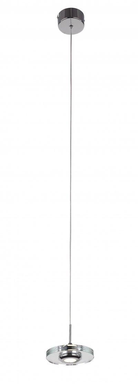 Светильник подвесной St luce SL569.103.01 VedetteОдиночные<br>Касаемо коллекции модели St luce SL569.103.01 хотелось бы отметить основные моменты: Минимализм в стиле техно так можно охарактеризовать светильники коллекции Vedette.  Гармоничное сочетание хромированного металла и прозрачного акрила ассоциирует с наукой и культурой будущего. Несколько таких светильников создадут удивительную и неповторимую атмосферу в любом помещении, оформленном в стиле хай - тек,  арт декорированного или современного модерна.<br><br>Крепление: на планку<br>Цветовая t, К: CW - холодный белый 4000 К<br>Тип лампы: LED - светодиодная<br>Тип цоколя: LED<br>Количество ламп: 1<br>MAX мощность ламп, Вт: 3<br>Диаметр, мм мм: 120<br>Высота, мм: 1200<br>Поверхность арматуры: глянцевая<br>Цвет арматуры: серебристый хром