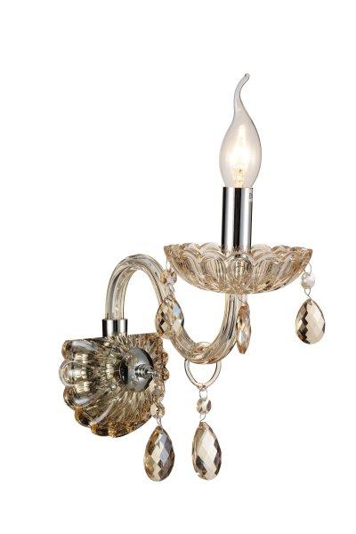 Светильник настенный бра St luce SL646.101.01Хрустальные<br>Если Вы настроены купить светильник модели SL64610101, то обратите внимание: Люстры коллекции Paralume восхищают своим блеском и великолепием. Основание выполнено из металла с покрытием цвета хром . Изящно изогнутые рожки светильника декорированы витым стеклом цвета шампань, чаши и декоративные элементы также выполнены из прозрачного рельефного стекла. Финальный штрих композиции – россыпь хрустальных подвесок. Это по-настоящему праздничная люстра, её сияние создает необыкновенную, живую игру света, который преломляется в гранях стекла и хрусталя.<br><br>Крепление: на планку<br>Тип лампы: накаливания / энергосбережения / LED-светодиодная<br>Тип цоколя: E14<br>Количество ламп: 1<br>Ширина, мм: 130<br>MAX мощность ламп, Вт: 40<br>Расстояние от стены, мм: 250<br>Высота, мм: 280<br>Поверхность арматуры: глянцевая<br>Цвет арматуры: серебристый