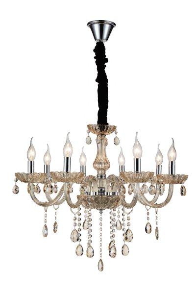 Люстра подвесная St luce SL646.103.08Подвесные<br>Если Вы настроены купить светильник модели SL64610308, то обратите внимание: Люстры коллекции Paralume восхищают своим блеском и великолепием. Основание выполнено из металла с покрытием цвета хром . Изящно изогнутые рожки светильника декорированы витым стеклом цвета шампань, чаши и декоративные элементы также выполнены из прозрачного рельефного стекла. Финальный штрих композиции – россыпь хрустальных подвесок. Это по-настоящему праздничная люстра, её сияние создает необыкновенную, живую игру света, который преломляется в гранях стекла и хрусталя.<br><br>Установка на натяжной потолок: Да<br>S освещ. до, м2: 16<br>Крепление: Крюк<br>Тип лампы: накаливания / энергосбережения / LED-светодиодная<br>Тип цоколя: E14<br>Количество ламп: 8<br>MAX мощность ламп, Вт: 40<br>Диаметр, мм мм: 630<br>Высота, мм: 680<br>Поверхность арматуры: глянцевая<br>Цвет арматуры: серебристый