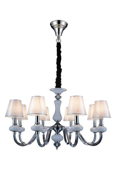 Люстра подвесная St luce SL654.503.08 LumeПодвесные<br>Касаемо коллекции модели St luce SL654.503.08 хотелось бы отметить основные моменты: Люстры и бра коллекции Lume приятно осветит пространство зала, спальни или гостиной, оформленных в стиле модерн или эклектика. Современный элегантный образ светильников состоит из текстильного абажура с гламурным отблеск и металлического хромированного основания, декорированного элементами из белого и черного хрусталя. <br>Комфортное свечение люстр коллекции Lume окутает пространство теплотой и уютом, где можно хорошо отдохнуть и насладиться душевной атмосферой.<br><br>Установка на натяжной потолок: Да<br>S освещ. до, м2: 16<br>Крепление: Крюк<br>Тип лампы: накаливания / энергосбережения / LED-светодиодная<br>Тип цоколя: E14<br>Количество ламп: 8<br>MAX мощность ламп, Вт: 40<br>Диаметр, мм мм: 780<br>Высота, мм: 460<br>Поверхность арматуры: глянцевая<br>Цвет арматуры: серебристый