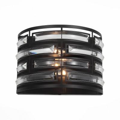 Светильник настенный St luce SL665.401.02Лофт<br>Люстра коллекции Chiarezza представляет собой модный арт-объект, созданный по всем правилам современного дизайна. Стильная модель с четким выверенным дизайном привлекает и ярким сочетанием черного металлического основания , инкрустированного прозрачным хрусталем,  и неординарной формой.Свет ламп, проходя сквозь хрустальные кристаллы сложной огранки создает стильное, динамичное освещение пространства. Люстры Chiarezza будут красивым украшением для интерьера зала, спальни или гостиной в стиле лофт, модерн, неоклассика или контемпорари.<br><br>Тип лампы: Накаливания / энергосбережения / светодиодная<br>Тип цоколя: E14<br>Цвет арматуры: черный<br>Количество ламп: 2<br>Ширина, мм: 275<br>Расстояние от стены, мм: 158<br>Высота, мм: 192<br>MAX мощность ламп, Вт: 40