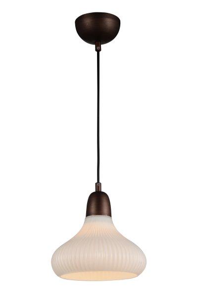 Светильник подвесной St luce SL712.883.01одиночные подвесные светильники<br>Если Вы настроены купить светильник модели SL71288301, то обратите внимание: Элегантная коллекция подвесных люстр Genio преобразит любую комнату и сделает ее интерьер современным и стильным. Очень эффектно смотрится металлическая арматура, окрашенная в оттенок темного кофе в сочетании с изысканными плафонами из глянцевого стекла . Такой универсальный дизайн дает возможность использовать модели коллекции Genio для помещения в любом стиле и с любой высотой потолков. Люстры, выполненные в лучших традициях современности, станут ярким штрихом для завершения продуманного интерьера.<br><br>S освещ. до, м2: 3<br>Крепление: на планку<br>Тип лампы: накаливания / энергосбережения / LED-светодиодная<br>Тип цоколя: E27<br>Цвет арматуры: коричневый<br>Количество ламп: 1<br>Диаметр, мм мм: 230<br>Высота, мм: 230<br>Поверхность арматуры: матовая<br>MAX мощность ламп, Вт: 60