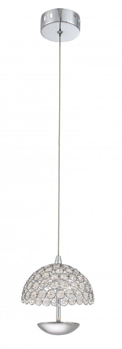 Светильник подвесной St luce SL781.103.01 SatelliteОдиночные<br>Касаемо коллекции модели St luce SL781.103.01 хотелось бы отметить основные моменты: Люстры коллекции Satellite будут ярким акцентом интерьера в стиле модерн, хай-тек или техно. Нижняя часть плафона выполнена из хромированного металла. Верхняя половина из хрустальных кристаллов. В хромированную полусферу установлены диоды нового поколения с высокой силой светового потока и низким энергопотреблением. Светильники Satellite - это идеальное сочетание современного стиля и продвинутых технологий.<br><br>S освещ. до, м2: 2<br>Крепление: Планка<br>Цветовая t, К: CW - холодный белый 4000 К<br>Тип лампы: LED - светодиодная<br>Тип цоколя: LED<br>Количество ламп: 1<br>MAX мощность ламп, Вт: 5<br>Диаметр, мм мм: 160<br>Высота, мм: 180<br>Поверхность арматуры: глянцевая<br>Цвет арматуры: серебристый хром