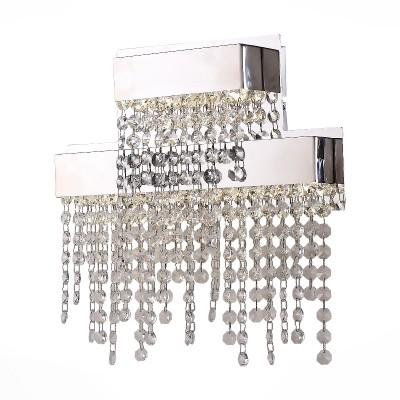 Бра St luce SL783.101.01Хрустальные<br><br><br>Крепление: на планку<br>Тип товара: Светильник настенный бра<br>Цветовая t, К: CW - холодный белый 4000 К<br>Тип лампы: LED - светодиодная<br>Тип цоколя: LED<br>Количество ламп: 1<br>Ширина, мм: 325<br>MAX мощность ламп, Вт: 12<br>Выступ, мм: 80<br>Расстояние от стены, мм: 80<br>Высота, мм: 320<br>Поверхность арматуры: глянцевая<br>Оттенок (цвет): прозрачный<br>Цвет арматуры: серебристый