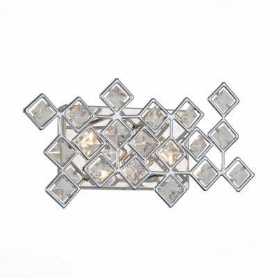 Бра St luce SL784.101.02Хрустальные<br><br><br>Крепление: на планку<br>Тип товара: Светильник настенный бра<br>Цветовая t, К: CW - холодный белый 4000 К<br>Тип лампы: галогенная / LED-светодиодная<br>Тип цоколя: G9<br>Количество ламп: 2<br>Ширина, мм: 370<br>MAX мощность ламп, Вт: 40<br>Выступ, мм: 180<br>Расстояние от стены, мм: 180<br>Высота, мм: 230<br>Поверхность арматуры: глянцевая<br>Оттенок (цвет): хром, прозрачный<br>Цвет арматуры: серебристый