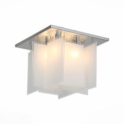 Люстра потолочная St luce SL794.102.04Потолочные<br>Стильные светильники коллекции  Insolito привнесут свежесть и функциональную красоту в современные интерьеры, оформленные в стиле постмодерн, техно или хай тек. На металлическом основании, хромированном и сверкающем зеркальным блеском установлены изящные геометрические пластины из белого матового стекла и галогеновые лампочки. Люстры Insolito можно разместить в жилом или офисном пространстве мегаполиса. Их спокойное рассеянное сияние поможет подчеркнуть всю красоту прагматичного интерьера, его идеальные формы и безупречную целостность.<br><br>Тип лампы: галогенная/LED<br>Тип цоколя: G9<br>Цвет арматуры: серебристый<br>Количество ламп: 4<br>Ширина, мм: 270<br>Длина, мм: 270<br>Высота, мм: 240<br>MAX мощность ламп, Вт: 40