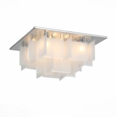 Люстра потолочная St luce SL794.102.08Потолочные<br>Стильные светильники коллекции  Insolito привнесут свежесть и функциональную красоту в современные интерьеры, оформленные в стиле постмодерн, техно или хай тек. На металлическом основании, хромированном и сверкающем зеркальным блеском установлены изящные геометрические пластины из белого матового стекла и галогеновые лампочки. Люстры Insolito можно разместить в жилом или офисном пространстве мегаполиса. Их спокойное рассеянное сияние поможет подчеркнуть всю красоту прагматичного интерьера, его идеальные формы и безупречную целостность.<br><br>Тип лампы: галогенная/LED<br>Тип цоколя: G9<br>Цвет арматуры: серебристый<br>Количество ламп: 8<br>Ширина, мм: 450<br>Длина, мм: 450<br>Высота, мм: 240<br>MAX мощность ламп, Вт: 40