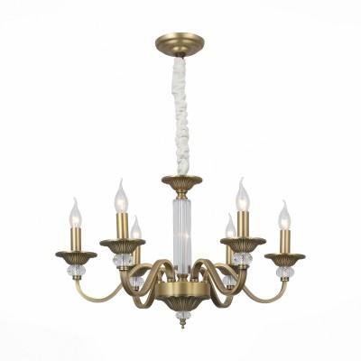 Люстра подвесная St luce SL813.303.06Подвесные<br>Люстры коллекции Nimita отличаются благородством во всем- в матовом блеске бронзы, плавных формах, идеальной сбалансированности металла и стекла в конструкции. Эти модели станут жемчужиной любого интерьера, отлично сочетаясь с породами светлого дерева и глубокими темными тонами в оформлении комнаты.  Стеклянные вставки в центральной части основания зрительно облегчают конструкцию. Люстра отлично дополнит интерьер любой комнаты, будь то гостиная, столовая, фойе.<br><br>Тип лампы: Накаливания / энергосбережения / светодиодная<br>Тип цоколя: E14<br>Цвет арматуры: бронзовый<br>Количество ламп: 6<br>Диаметр, мм мм: 600<br>Высота, мм: 500 - 1100<br>MAX мощность ламп, Вт: 40