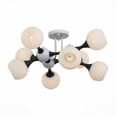 Светильник St Luce SL849.542.08Потолочные<br>Если Вы настроены купить светильник модели SL84954208, то обратите внимание: Как атомы, соединяясь между собой, создают молекулы, так собираются воедино плафоны-шары светильников из коллекции Edificio. Уникальные крепления-шарниры соединяют стыки металлического каркаса, добавляя облику светильника брутальность и футуристичность. Направленность абажуров во все стороны позволяет полноценно и равномерно осветить все пространство мягким и сдержанным потоком света. Люстры коллекции Edificio могут использоваться в городских квартирах, но особенно эффектно они выглядят на высоких потолках частных домов.<br><br>Установка на натяжной потолок: Да<br>S освещ. до, м2: 24<br>Тип лампы: Накаливания / энергосбережения / светодиодная<br>Тип цоколя: E27<br>Количество ламп: 8<br>Ширина, мм: 750<br>Длина, мм: 750<br>Высота, мм: 380<br>MAX мощность ламп, Вт: 60
