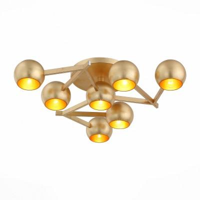 Светильник потолочный St luce SL853.202.07Потолочные<br>Оригинальные, яркие люстры серии Rottura станут акцентом интерьера в стиле модерн, поп-арт или футуризм. Плафоны и основания светильников изготовлены из металла и представлены в 5-х цветах: белый, черный, красный, хром, золото.<br><br>Установка на натяжной потолок: Ограничено<br>S освещ. до, м2: 18<br>Крепление: Планка<br>Тип лампы: накаливания / энергосбережения / LED-светодиодная<br>Тип цоколя: E14<br>Количество ламп: 7<br>Ширина, мм: 600<br>MAX мощность ламп, Вт: 40<br>Длина, мм: 600<br>Высота, мм: 120<br>Поверхность арматуры: глянцевая<br>Цвет арматуры: золотой