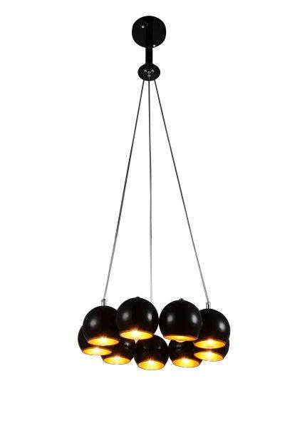 Люстра подвесная St luce SL854.243.09Подвесные<br>Если Вы настроены купить светильник модели SL85424309, то обратите внимание: Коллекция Glio поражает необычным запоминающимся дизайном. Светильники идеально вписываются в современный интерьер , оформленный в стиле минимализм, техно или хай- тек. <br>Полузакрытые шарообразные абажуры создают мягкое направленное освещение.Возникает ощущение комфорта и уюта как только включаются лампочки и глянцевые поверхности хромированных или черных плафонов начинают активно отражать свет, создавая игривые блики, разлетающиеся по всем поверхностям комнаты.<br><br>Установка на натяжной потолок: Да<br>S освещ. до, м2: 18<br>Крепление: Планка<br>Тип лампы: накаливания / энергосбережения / LED-светодиодная<br>Тип цоколя: E14<br>Цвет арматуры: Черный<br>Количество ламп: 9<br>Диаметр, мм мм: 470<br>Высота, мм: 450<br>Поверхность арматуры: глянцевая<br>MAX мощность ламп, Вт: 40